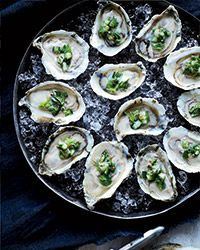 This is a great way to showcase the flavors of raw oysters with diced pear and cucumber.