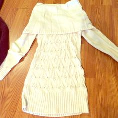 CUTE SWEATER TUNIC Size medium. Super cute Piece. Can wear as shown in Pic or as a Cowl neck. Cream colored. From AmiClubwear Sweaters
