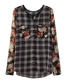 Floral Print Sleeves Plaid Blouse