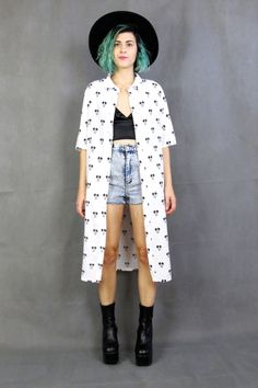 Vintage Mickey Mouse Shirt Dress Collared Button by honeymoonmuse