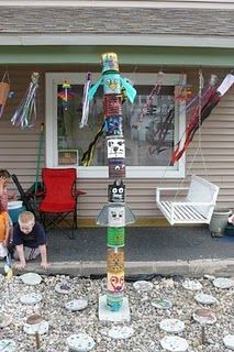 totem pole: is it coffee cans? This would be a really good idea for the new tigers to do :)