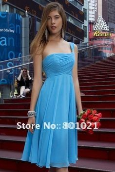 Fantastic draped bridesmaids gown touch detailing at strap Turquoise short bridesmaid dress $89.00