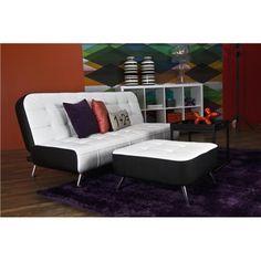 Kanapa rozkładana Reggae ekoskóra biało-czarna Decor, Furniture, Home Decor, Futon, Couch