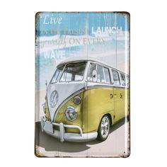 Plaque en métal Affiche Rétro BEACH VAN 20x30