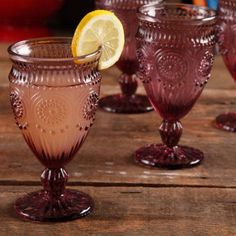 The Pioneer Woman Adeline Embossed Footed Glass Goblet, Purple