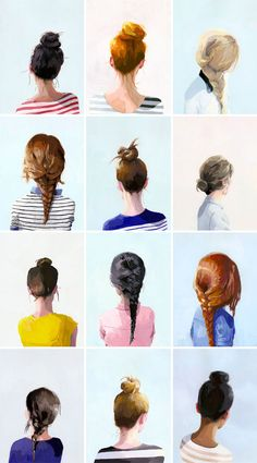 Illustrated Topknots and Braids