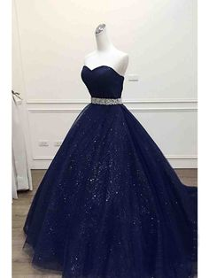 Ball Gown Prom Dresses Sweetheart Sequins Dark Navy Long Prom Dress/Evening Dress JKL193