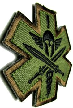 """[Single Count] Custom, Cool & Awesome {2.5"""" x 2.4"""" Inches} US Armed Forces Forest Colored Spartan Army Medic EMT Badge (Tactical Type) Velcro Patch """"Green, Black & Brown"""""""
