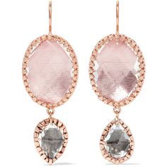 Larkspur & Hawk Sadie rose gold-dipped, amethyst and quartz earrings ($1,340) ❤ liked on Polyvore featuring jewelry, earrings, earring jewelry, amethyst earrings, pink gold earrings, quartz earrings and hand crafted jewelry