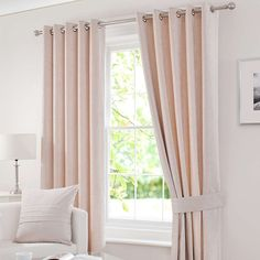 Cream Chenille Lined Eyelet Curtains | Dunelm - for back doors