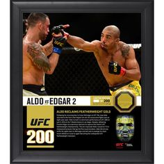 """Jose Aldo Ultimate Fighting Championship Fanatics Authentic Framed 15"""" x 17"""" UFC 200 And New Interim Featherweight Champion Collage with a Piece of Canvas From UFC 200"""