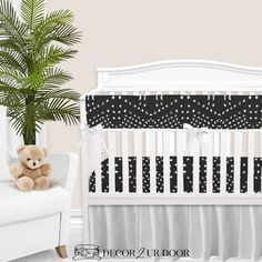 """Your dream boho, textured, and patterned-perfect nursery has arrived. We love this charcoal """"tile"""" inspired print in this nursery. Add fun plants (like snake plants, fiddle leaf fig, or (fake) cacti) for pops of green. This may be one of our favorite boho + modern inspired nursery looks yet. Woodland Baby Bedding, Custom Baby Bedding, Baby Girl Crib Bedding, Baby Bedding Sets, Nursery Bedding, Baby Cribs, Nursery Decor, Designer Baby Blankets, Crib Rail Cover"""