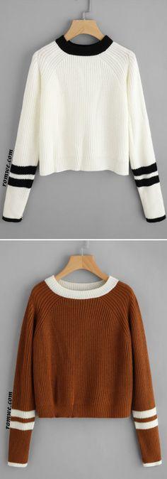 Striped Contrast Trim Sweater