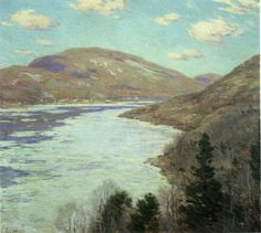 """""""Hudson River in February: Bear Mountain,"""" Willard Leroy Metcalf, ca. 1920, oil on canvas, 26 x 29 1/8"""", Florence Griswold Museum."""