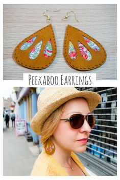 Make these fun Peekaboo Earrings using bright floral fabric, fun faux suede, and your Cricut Maker. They're perfect for spring! Make these fun Peekaboo Earrings using bright floral fabric, fun faux suede, and your Cricut Maker. They're perfect for spring! Diy Leather Earrings, Fabric Earrings, Fabric Jewelry, Diy Earrings, Leather Jewelry, Wire Jewelry, Jewelry Crafts, Handmade Jewelry, Quilling Earrings