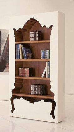 Baroque cut out bookcase.only the coolest bookcase I've ever seen! Funky Furniture, Painted Furniture, Furniture Design, Interior And Exterior, Interior Design, Shelving, Sweet Home, House Design, Home Decor