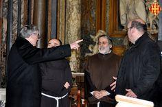 El Cardenal amb el rector i el vicerector de la basílica i el seu secretari