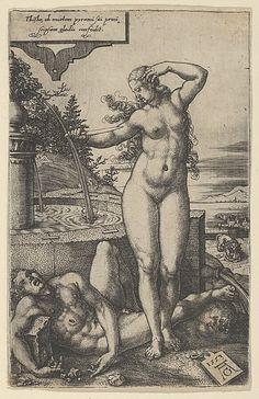 Pyramus and Thisbe Artist: Heinrich Aldegrever (German, Paderborn ca. 1502–1555/1561 Soest) Date: 1553 Medium: Engraving