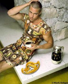 Brad Pitt rocks a 50's housedress. Go Brad!