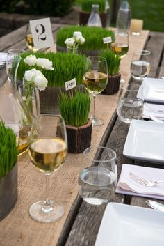 Make your garden party eco friendly and different with our modern meets rustic wheatgrass container rentals.