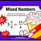 Mixed Numbers:  You will receive 30 mixed number task cards focusing on writing mixed numbers as improper fractions in simplest form.  You will als...