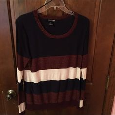Forever 21 Striped Shirt This is a warm and very nice quality shirt bought from F21 in February! It it navy blue, maroon w/ sparkles, and white/cream! It is in great condition and has only been worn twice! No stains, holes or tears! Forever 21 Tops Blouses