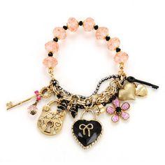 Heart Key Charm Stretch Bracelet