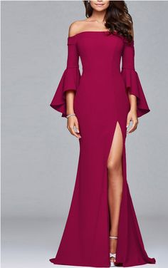 Solid Color Off Shoulder Split Evening Maxi Dress – 8 Banana Trendy Dresses, Elegant Dresses, Fashion Dresses, Formal Dresses, Long Dresses, Curvy Dress, Moda Casual, Gala Dresses, Long Bridesmaid Dresses