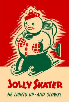 """A charming three colour illustrated vintage ad for a """"Jolly Skater"""" snowman Christmas decoration. #vintage #Christmas #snowman #illustration #retro #decor #decorations"""