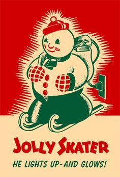 "vintage christmas ""jolly skater"""