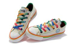 Beige Converse All Star Rainbow Colorful Shoelace And Edge Radio Low Top Canvas Sneakers