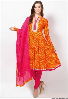 Biba-Printed-Cotton-Orange-Kalidar-Suit-Biba kurtis