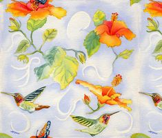 Hummingbirds_with_Hibiscus fabric by marlene_lano_design on Spoonflower - custom fabric