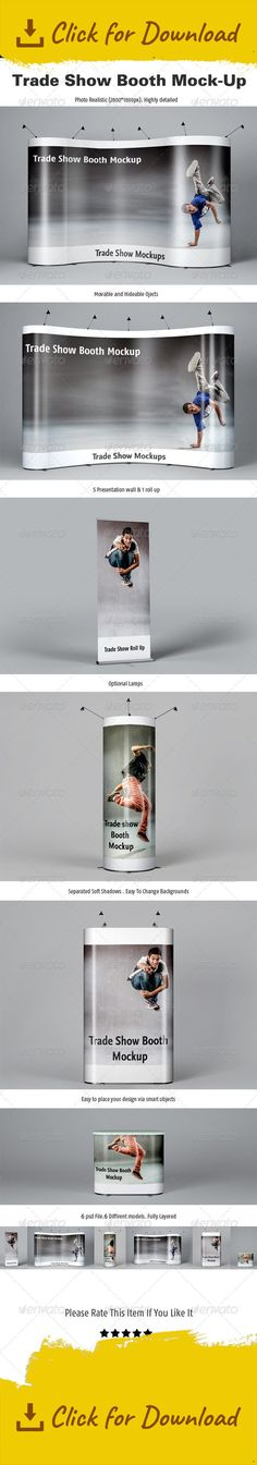 booth, branding, business, corporate design, display, exhibition, exposition, mockup presentation, presentation, roll up, rollup, rollup mockup, trade, trade show, tradeshow, wall, wall presentation Trade Show Booth Mockups Features  6 PSD Files /6 Different Models High résolution / 2800×1800px / 300 Dpi  Editable via smart object Fully Layered Help File and Instructions  simple usage soft separated shadows changeable background  photos are not included  If you have some questions, please...