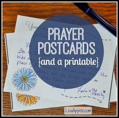 These free printable prayer postcards are a great way to tell someone that you are praying for them! They have space for a short note, encouraging verse or a picture by your kids.  Free 2-sided printable to download.
