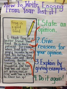 Anchor chart for an example of teaching opinion writing long off of post its Persuasive Writing, Teaching Writing, Writing Activities, Paragraph Writing, Writing Rubrics, Essay Writing, Kindergarten Writing, Opinion Paragraph Example, Literary Essay