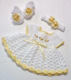 Crochet Newborn Baby Girl Dress Set with Headband and Mary Jane Booties  Dress Set   THIS BEAUTIFUL NEWBORN BABY DRESS SET WAS MADE WITH TOP QUALITY, ULTRA SOFT BABY YARNS. THE PERFECT BABY SHOWER...@ artfire