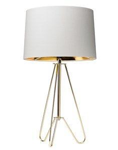 Ziggy Tripod Gold Lamp With Cream Shade