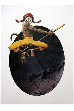 Stone Egg Lithograph - Monkey Journey to the West - (Limited edition of 250) by Jamie Hewlett