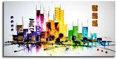 Een abstract geschilderde skyline met veel moderne kleuren.Het is gemaakt met acrylverf op canvasdoek