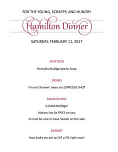 Party invitations hamilton the musical personalized invitation a check out this menu for a hamilton themed dinner party stopboris Images