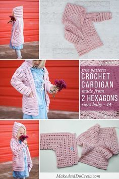 This free girls crochet cardigan pattern is perfect for Easter, Valentine's Day or year round wear and it's made from two simple hexagons! Sizes newborn baby, toddler, preschooler, older girl and teen. via @makeanddocrew
