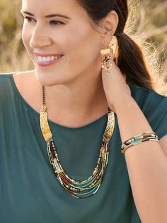 Worldly, rural, and otherworldly, our Taos Necklace evokes a land of enchantment inspired by the spirit of the southwest. Gorgeous rows of natural and