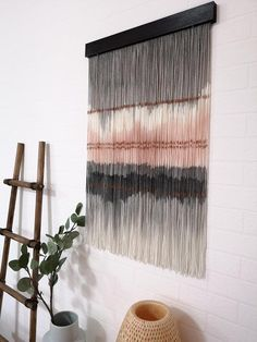 Large Tapestry Boho Home Decor Bohemian Fiber Art Wall Art Wall Decor Yarn Tapestry Boho Wall Art Dip Dyed Wall Hanging Yarn Wall Art, Diy Wall Art, Diy Wall Decor, Home Decor, Tapestry Loom, Wall Tapestry, Tapestry Nature, Large Tapestries, Bohemian Decor