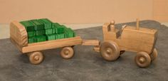 WOOD FARM TRACTOR TOY with CART HAY BALES and FEED SACKS Amish Handmade Wooden Toys Made in USA