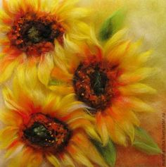 Pictures of flowers handmade.  Fair Masters - handmade.  Buy Sunflowers Trio.  Picture of wool .. Handmade.  Yellow