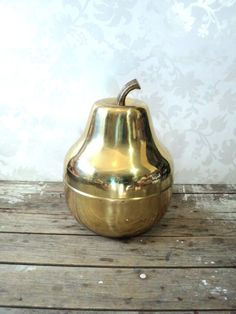 Huge Brass Ice Bucket, Pear shaped, 3 piece includes plastic insert, Large, mid century, bar accessories, gold, fruit