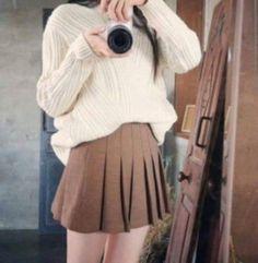 스웨터 주름 치마