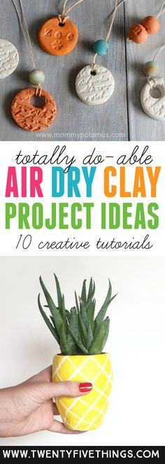 Great list of air dry clay ideas. You can use these air dry clay projects for gifts or as a fun way to spend the afternoon. If you've never used air dry clay, no worries. These are all easy air dry clay projects with tutorials. Clay Projects For Kids, Clay Crafts For Kids, Air Dry Clay Ideas For Kids, Teen Projects, Diy Projects, Homemade Clay, Diy Clay, Do It Yourself Organization, Easter Art