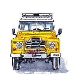 Land Rover Serie III Tinte und Aquarellillustration – bulent taskın – Join the world of pin Car Design Sketch, Car Sketch, Design Cars, Car Illustration, Illustrations, Watercolour Illustration, Chevy, Land Rover Defender 110, Land Rover Discovery